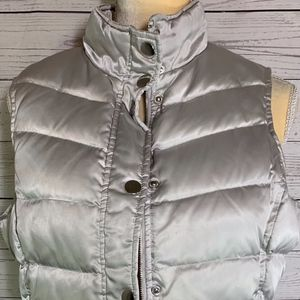 INC Satiny Silver Down Puffer Vest Size PM